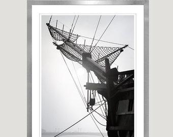 Nautical decor Ship print, Black and White photography Large wall art Men Room decor, 12x18 20x30 24x36 Vertical poster