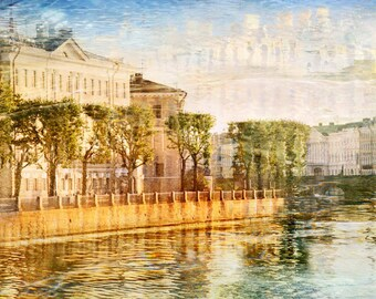 European city print Large wall art Landscape photography Cityscape artwork, St Petersburg Russia printed art 12x18 16x24