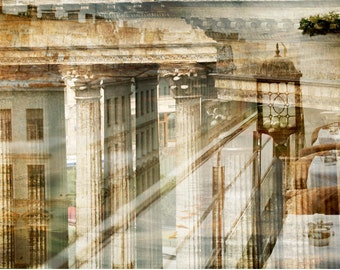Abstract Architecture print, City artwork Large wall art living room decor, Sepia Brown large scale art St Petersburg 20x30 24x36