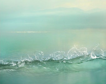 Abstract Water art Calm Landscape print Extra large wall art, Zen Aqua Mint Sunrise Bedroom wall decor 16x20 24x30