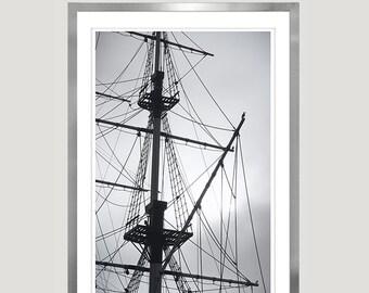 Sailing Ship print Black white Nautical art for men apartment decor, Large Modern wall art Vertical photography 20x30 24x36