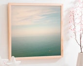 Abstract ocean landscape print, Minimalist art Calm sea photography Large wall art Mint bedroom decor, Tranquil water art beach print