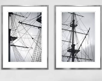 Ship print Set of 2 Black and White Abstract art for men Apartment decor, Large wall art Modern Nautical decor Diptych 16x24