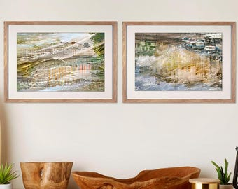 Scenic Abstract city art, Gallery wall Set of 2 prints Diptych, Large wall art St Petersburg Russian art Watercolor Apartment decor