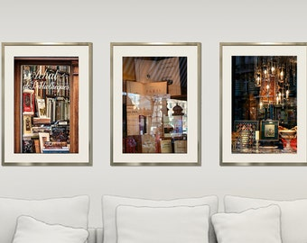 Set of 3 prints, books photography, chandelier print, Paris prints, shop window decor, large wall art set of three, 24x36, 20x30, Triptych