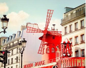 Paris print City art, Parisian artwork for walls, Famous moulin Architecture art Cityscape prints, Red Large wall art 12 16 x 20 24 photo