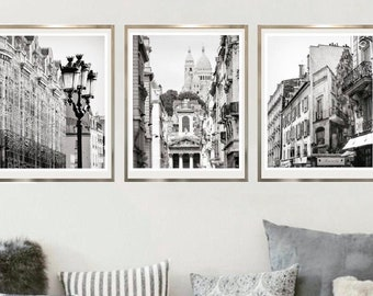 Black and white print set of 3 Paris wall art City prints Architecture poster set, Triptych art 16 x 20 French wall decor