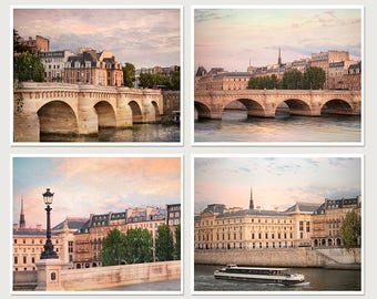 Paris photography Print set of 4 piece wall art Large City art, Parisian Cityscape photo Pont Neuf 8x10 11x14 16x20