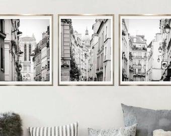 3 piece wall art Black and white prints, Paris wall art Architecture print set, Parisian photography 16x20 French decor