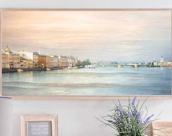 City art Long print Pastel Pink Blue wall art, Panoramic photo Behind bed art, Cityscape artwork St Petersburg 12x24 16x32
