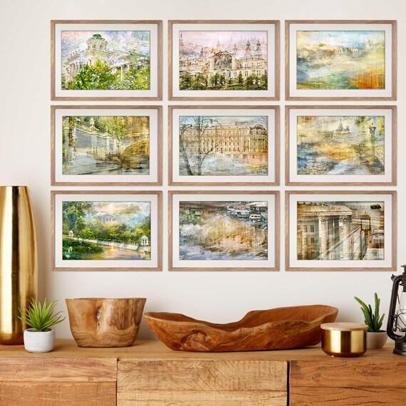 Travel art City Print Set, Large Artwork Wall art Living room, Gallery wall  Set of 9 prints, St Petersburg Moscow prints