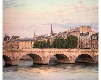 Paris print City art, Pont Neuf Cityscape wall art Large Parisian prints 16x16 30x30