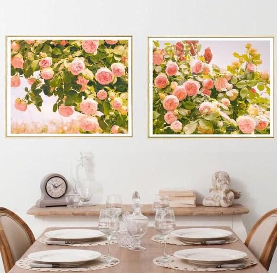 Pink Rose Print Set Of 2 Flower Wall Art Extra Large Art Etsy