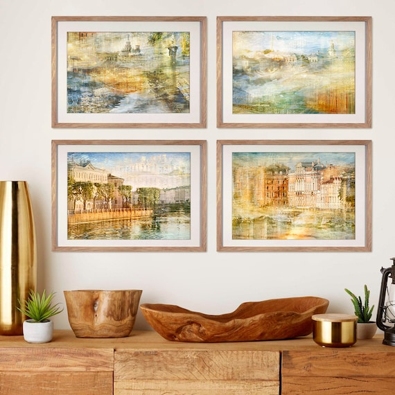 Artwork for walls, Extra large wall art Abstract Gallery wall set of 4  prints, City prints St Petersburg Living room decor 5x7, 12x18, 16x24