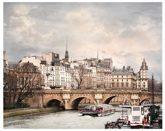 Paris print City art, Large wall art living room decor, Cityscape print Pont Neuf Fine art photography 16x20 poster