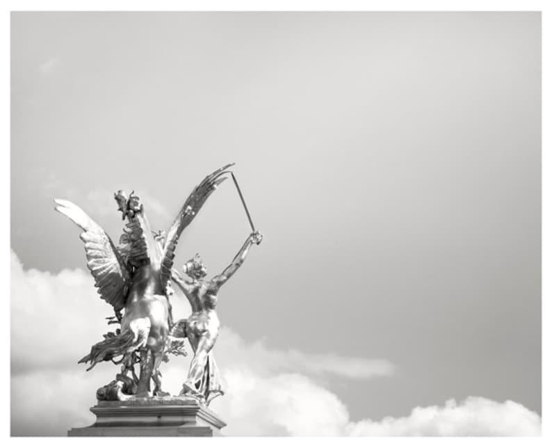 Pegasus print Minimalist wall art Silver Sculpture Black and image 0