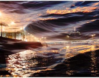 Abstract City art Night artwork, Large wall art Purple and gold art print, St Petersburg Russia 16x24 20x30