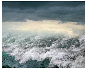 Ocean waves art print Stormy sea water photography Teal large wall art nautical decor, Oversized poster, stormy ocean 24x30, 16x20, 8x10