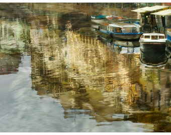 Boats print Large artwork, Water color art for Men Apartment decor, St Petersburg Russia 12x18 16x24 20x30
