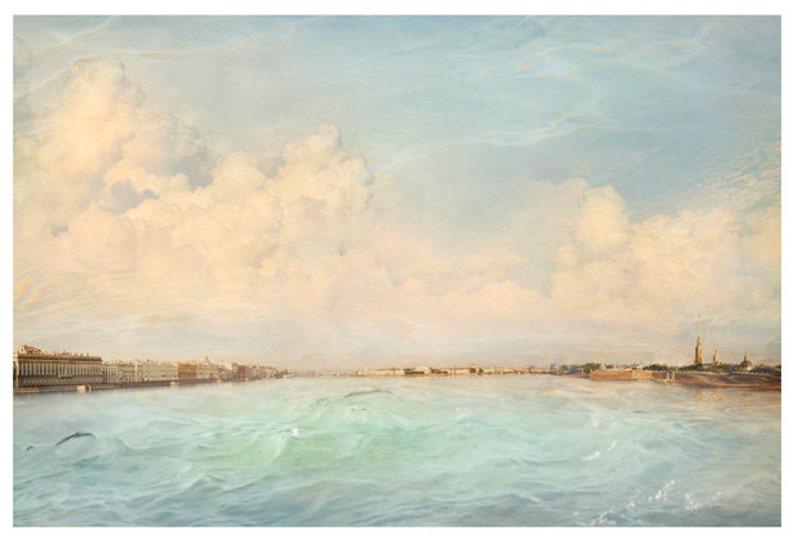 Pastel landscape print Extra large wall art Aqua print Large image 0