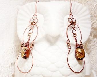 Tibetan Gold Leaf Prayer Bead Delicate Copper Dangles