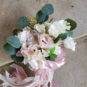 Butterfly Pom Wand Bright Spring or Fall Eggplant Peach Ivory Blush
