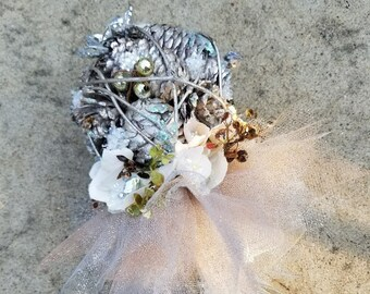 Winter Silver Pine Cone Tutu Flower Girl Pom Wand