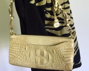 79726a1a0d05 brahmin leather gold leather purse crocodile purse vintage purse brahmin  handbag small purse Cream Gold Brahmin Shoulder Bag MINT condition