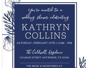 Navy Shell Wedding Shower Invites