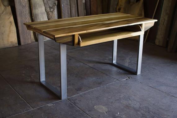 Compact Modern Wood Recording Studio Desk for Composer / Producer /  Photographer /Designer / Creative // 49 key model in sun-tanned poplar