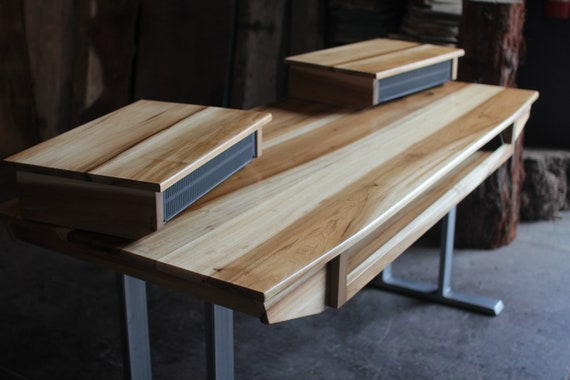 Midsize Modern Wood Recording Studio Desk for Composer / Producer /  Photographer /Designer / Creative // 61key model in sun-tanned poplar