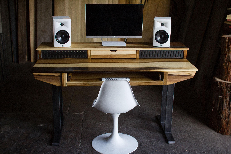 compact modern wood recording studio desk for composer etsy. Black Bedroom Furniture Sets. Home Design Ideas