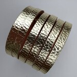 Leather cuff bracelet handmade cutout strip design modern classic bangle stud fastening gold small size classic handcraft metallic