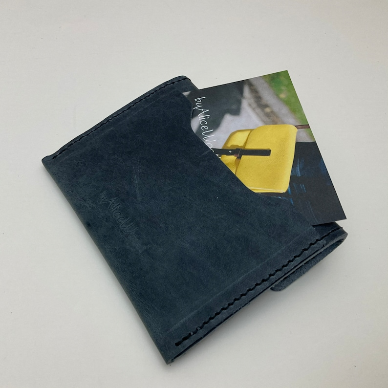 Sam Browne silver stud fastening perfect size for coins /& cards. Two pocket Stud Purse /'Denim/' blue soft leather