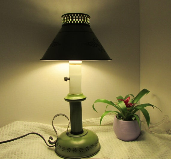 Table Lamp Olive Green Metal Lamp Old Fashion Home Lighting Etsy