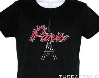 Rhinestone Glitter Sparkly Paris Shirt | Paris Eiffel Tower Woman's Tshirt |  Sparkle Tee | Bling Ladies Gift Idea | Vacation clothing, tops