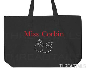 Personalized Teacher Tote Bag.  Teacher Appreciation Gift.  Teachers Assistant Tote, Teacher Bag.  Personalized Name and Rhinestone Apples.