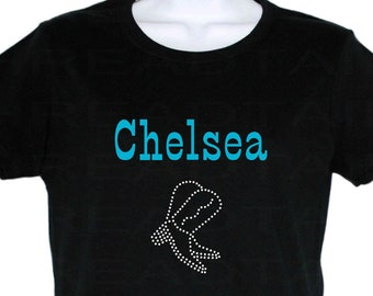 cc231040fda Personalized T-shirt with rhinestone cowboy boots. Country