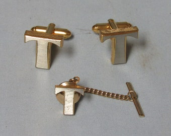 Vintage Dante Monogram T Gold and brushed silver tone Cufflinks and Tie Tack set