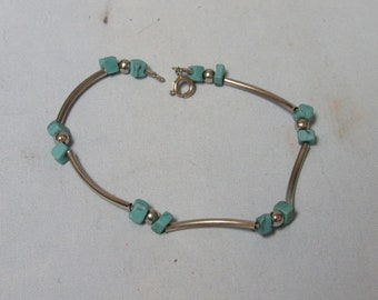 Vintage Turquoise nugget and Sterling Silver Tube Bead Bracelet