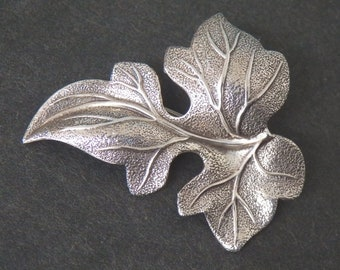 Sterling Silver Leaf Pin or Brooch marked Sterling