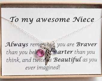 Personalized Gift For Niece Necklace Birthday Jewelry Sweet 16 Angel Wing From Aunt