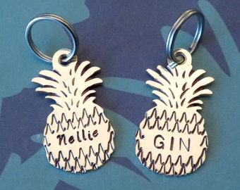 PETITE Pineapple Pet ID Tag- Handmade - Copper or Brass - Personalized - Unique