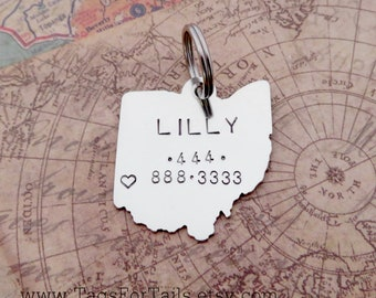 Ohio State Pet Tag -choose any state -Handmade Dog or Cat ID Tag