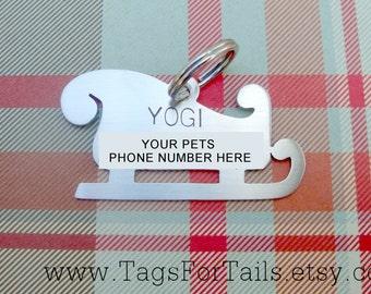 Christmas Sleigh Pet ID Tag- Handmade - Holiday Dog Tag - Personalized