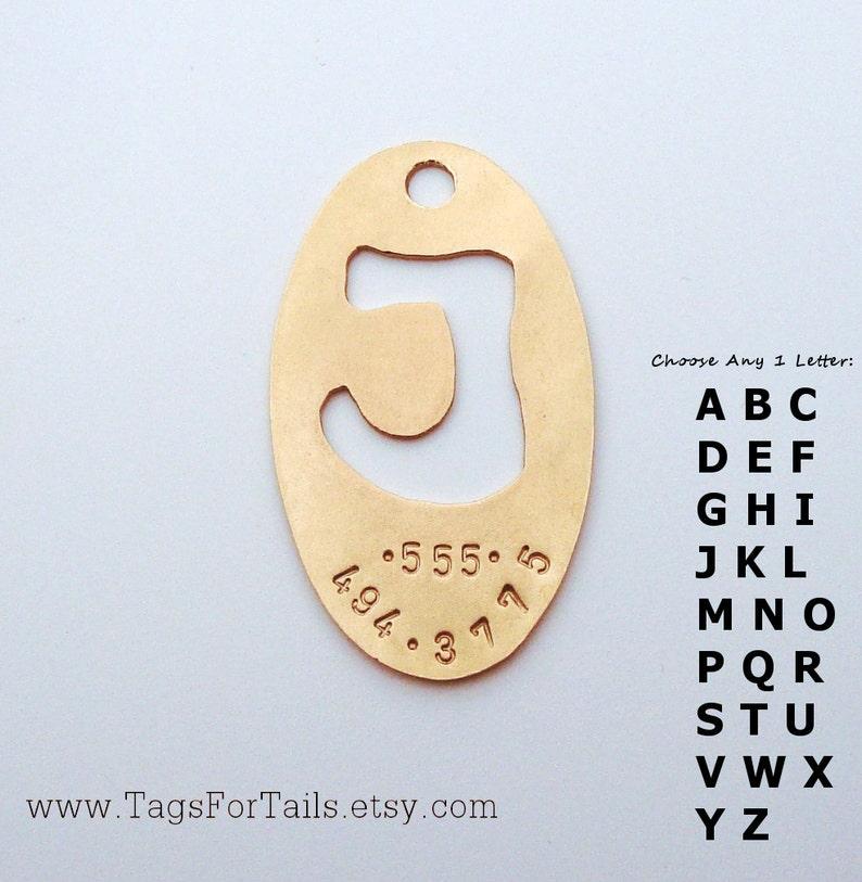 Monogram Pet Tag Handmade Artisan Custom Pet  ID Unique Personalized Dog Tag Oval Style
