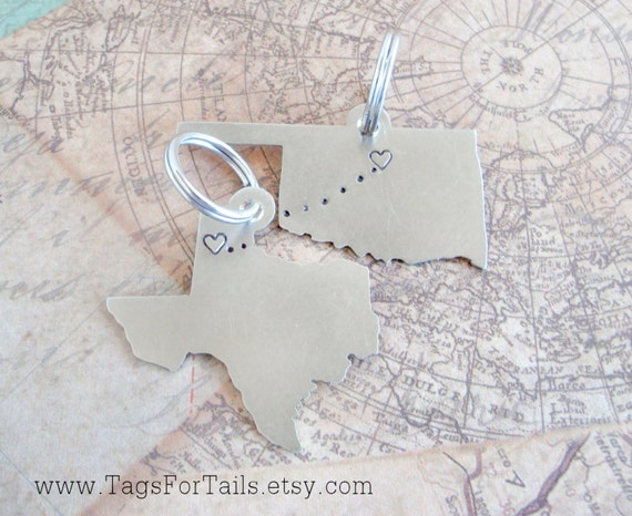 State Keychain Set of Two Texas and Lower Michigan Handcrafted Choose Your States