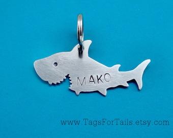 Shark Pet ID Tag -  Custom Dog or Cat ID Tag - Handmade