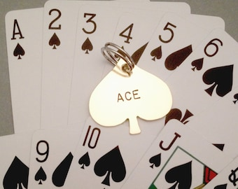 Ace of Spades Pet ID Tag- Handmade - Identification - Personalize - Unique - Spade Playing Card Suit Keychain