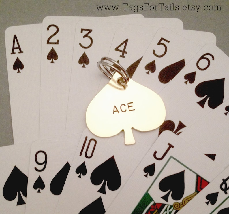 Ace Of Spades Pet Id Tag Handmade Identification Personalize Unique Spade Playing Card Suit Keychain